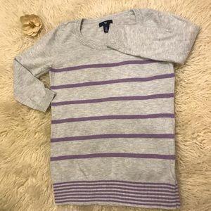 Gap 3/4 Sleeve Striped Sweater
